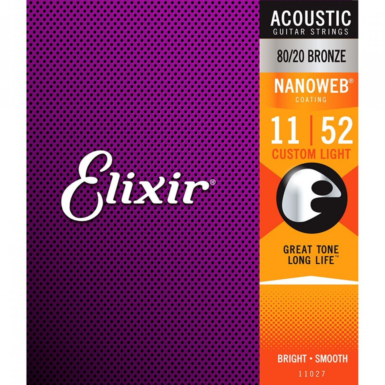Elixir Acoustic Guitar Strings Nanoweb Custom Light 11-52