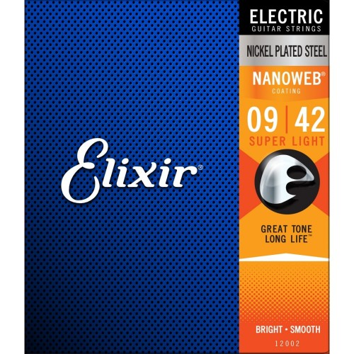 Elixir Electric Guitar Strings Nanoweb Super Light 9-42