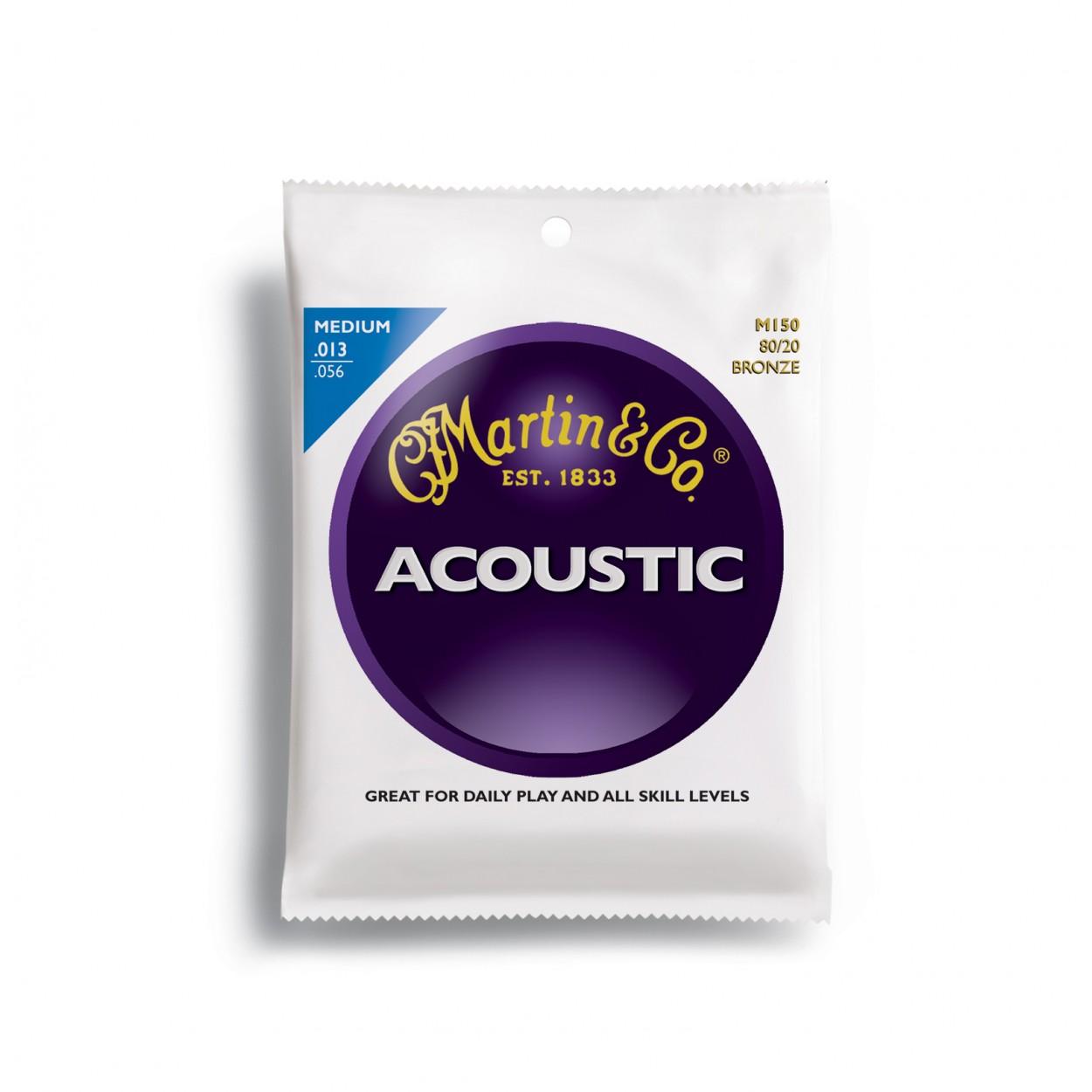 Martin M150 Acoustic Guitar Strings Medium 13-56